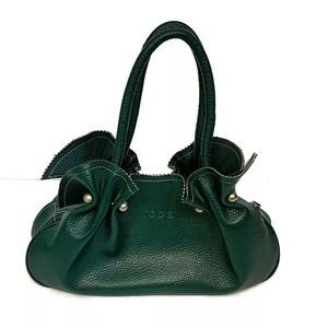 TOD'S Holly Green Pebbled Leather Tote Purse